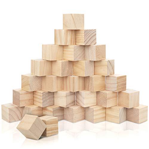 Kurtzy Bloques de Madera Cuadrados Pequeños (Pack de 30) - 3 x 3 x 3 cm Cubo Madera Pino Natural sin Acabado - Bloque Madera Educativo Manualidades para Bricolaje, Rompecabezas, Números