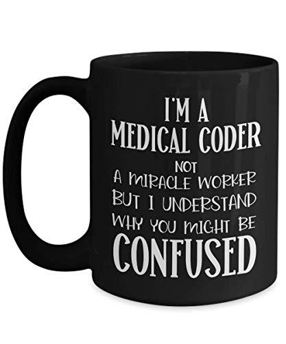 Taza de codificador médico agradecimiento regalo de agradecimiento por codificador médico regalos para mujeres, no un trabajador de milagros tazas de café divertidas para compañeros de trabajo