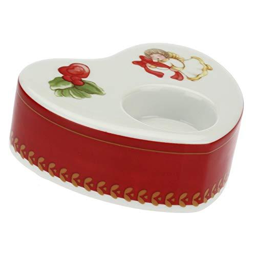 THUN ® - Porta Candela in Porcellana a Forma di Cuore Dolce Natale