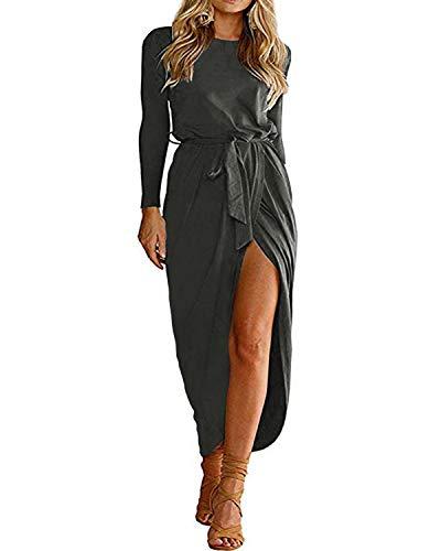 YOINS Sommerkleid Damen Lang Maxikleider für Damen Strandkleid Sexy Kleid Kurzarm Jerseykleider Strickkleider Rundhals mit Gürtel Langarm,EU44/L,Langarm-grau