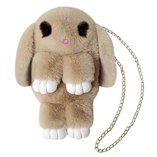 Girls Rabbit Faux Fur Backpack Bunny Hare Shoulder Bags Plush Doll Crossbody Handbag Knapsack Women Kids Travel Satchel
