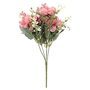 Silk Flower Arrangements LIQIN. Artificial Flowers. Home Decoration DIY Crafts Wedding Supplies Silk Freesia Fake Bouquet Artificial Flower Desktop Decor(Dark Pink)