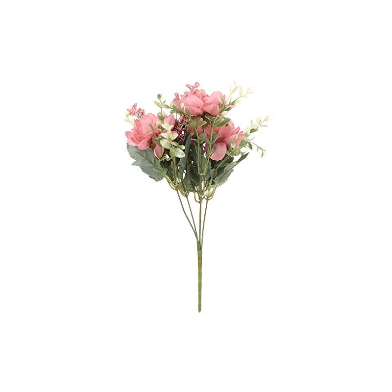 silk flower arrangements baoheng realistic artificial silk freesia flowers, 1 bunch fake bouquet wedding table home party decor, desktop decor artificial flower(dark pink)