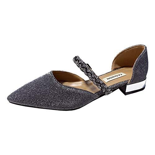 Luckycat Zapatos de Tacón Bajo Cuadrado Clásico con Cordones y Hebillas para Mujer Brillo pedrería Tacón Bajo Medio Sandalias Boda Graduación Mujer Fiesta
