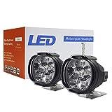 2Pcs / set Foco LED externo para motocicleta 6 Foco LED para motocicleta LED, motocicleta Led 8W 1000LM 6500K Kit de reemplazo de luz Alto brillo