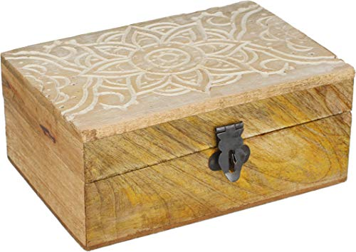 com-four® Holzbox mit Deckel und Metall-Verschluss - Rustikale Aufbewahrungs-Box aus Holz - Handgeschnitzte Schatzkiste [Auswahl variiert] (01 Stück - Hellbraun)