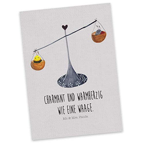 Mr. & Mrs. Panda Grußkarte, Karte, Postkarte Sternzeichen Waage mit Spruch - Farbe Grau Pastell