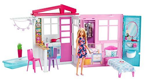 Barbie - Casa amueblada pleglable con cocina, piscina, dormitorio y lavabo con muñeca rubia (Mattel FXG55), Embalaje estándar