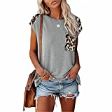 ZFQQ Camiseta sin Tirantes con Cuello Redondo y Estampado de Leopardo Multicolor para Primavera y Verano para Mujer