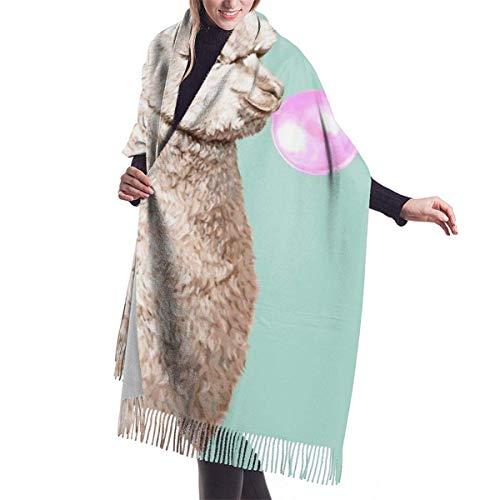 Fendy-Shop Bufanda de cachemira de goma de mascar de alpaca para mujeres y hombres, bufandas de invierno suaves unisex ligeras, chal con flecos