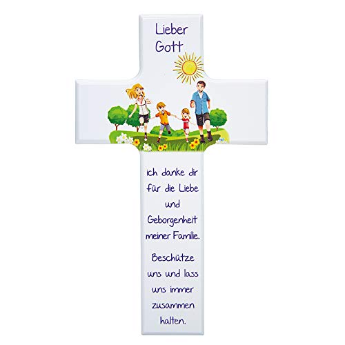 FRITZ COX® - Kinder- Holzkreuz: 'Meine Familie' 20 cm, weiß - die Familie ist das stärkste Band - ein schönes Geschenk für Jungen & Mädchen