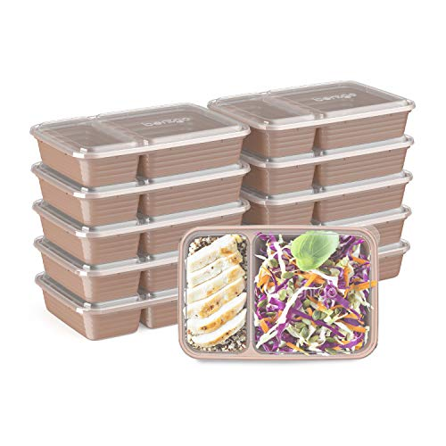 Bentgo Prep 2-Compartment Meal-Prep Containers with Custom-Fit Lids - Microwaveable, Durable, Reusable, BPA-Free, Freezer and Dishwasher Safe Food Storage Containers - 10 Trays & 10 Lids (Rose Gold)