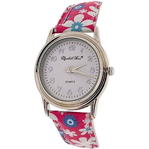 Elizabeth Rose Ladies White Dial & Pink Flower Design PU Strap Watch E