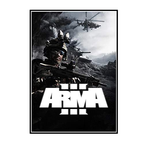 ADNHWAN Arma 3 Experience True Combat Game Sala de Estar Carteles artísticos de Pared Impresiones en Lienzo Decoración del hogar Regalo -50x70cm Sin Marco 1 Uds