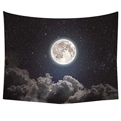 Tapiz de pared con diseño de estrellas de luna y cielo nocturno y nubes blancas, color azul oscuro, psicodélico, decoración de pared, para recámara, sala de estar o dormitorio (150 x 170 cm)