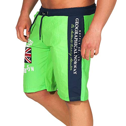 Geographical Norway Herren Badeshorts Quodesh mit Patches Knielang Flashy Green M