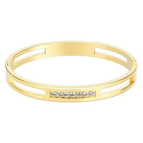 KnSam in Acciaio Inox Bracciali Donna Hollow con Sette Zircone Oro