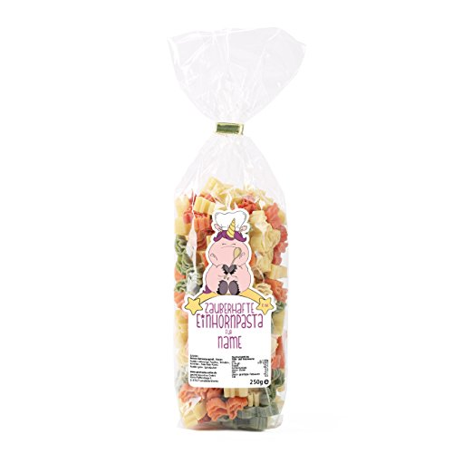 Knuddelhorn® Einhorn Nudeln mit Namensaufdruck auf dem Etikett