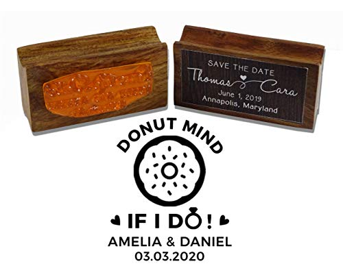 Printtoo PersonalizedRubber Stamp Wedding Favor Round Stamp Donut Mind If I Do Wood Mounted CustomStamper-1.57 Inches Diamater