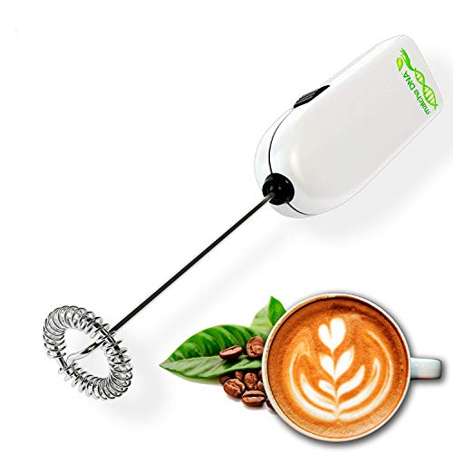 MatchaDNA Milk Frother  Handheld Battery Operated Electric Foam Maker For Thick Frothed Milk In Seconds Bulletproof Coffee Lattes Cappuccino Hot Chocolate Drink Mixer Silver RT 1 Pack