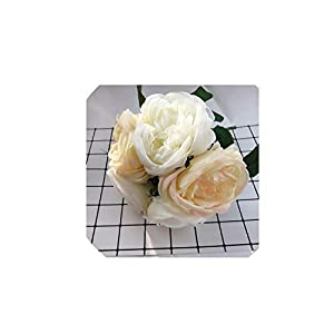 Artificial Flowers Peony for Wedding Decor Silk Peonies Bouquet for Home Decoration Fake Rose Flower 5PCS/Bouquet,Champagne