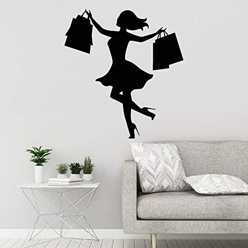 HGFDHG Calcomanía de Vinilo para Pared Silueta Compras niña Mujer con Bolsa Pegatina Mural de Centro Comercial Tienda Mercado decoración de Ventana