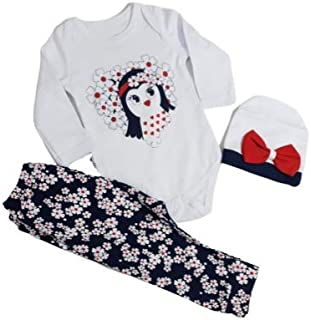 3 pcs Newest Newborn Baby Girl Tops Romper Bodysuit Pants Hat Camo Outfits Clothes Set Flower Red/Yellow Penguin Band (Yel...
