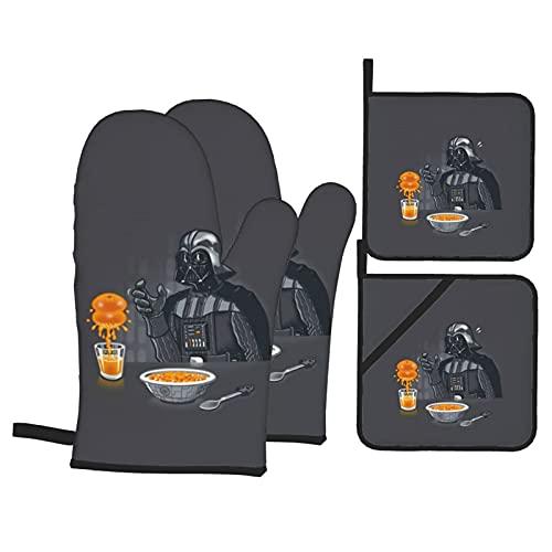 BAIKJUTOUNA Captain Baby Yoda Star The Wars Mandalorian Darth Vader Manoplas de horno y soporte para ollas, resistentes al calor, guantes de cocina reutilizables para hornear seguro y cocinar