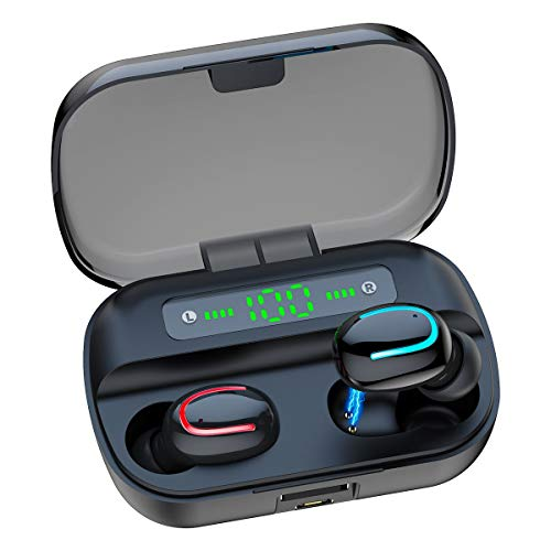 CUIZI Wireless Earbuds Bluetooth Headphones,5.0 HD Stereo Sound Wireless Headset, IPX7 Waterproof Headphones Built-in Mic, Noise Canceling,Long Playtime, with Charging Case
