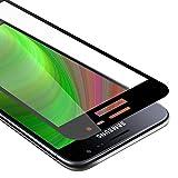 Cadorabo Vollbild Panzer Folie kompatibel mit Samsung Galaxy J3 / J3 DUOS 2016 - Schutzfolie in TRANSPARENT mit SCHWARZ - Gehärtetes (Tempered) Bildschirm-Schutzglas in 9H Festigkeit mit 3D Touch