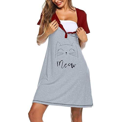 ZXQC Vestido De Lactancia Materna Vestido Embarazado Manga Corta Trabajo Entrega De Enfermería Vestidos Hospitalarios, Pijamas De Embarazo Suave (Color : Red, Size : L)