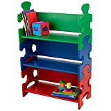 KidKraft - Estantería infantil de madera con diseño puzzle y 3 estantes, muebles para salas de juego y dormitorio de niños, multicolor (colores primarios) (14400)