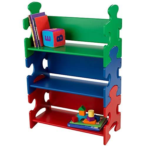 KidKraft 14400 Puzzle Bücherregal für Kinder in Grün, Blau und Rot, Kinderzimmermöbel und Regal, Bücherregal mit 3 Böden