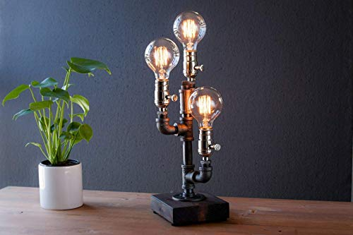 Cactus Industrial Steampunk table pipe lamp with Globe Edison bulb and wood base