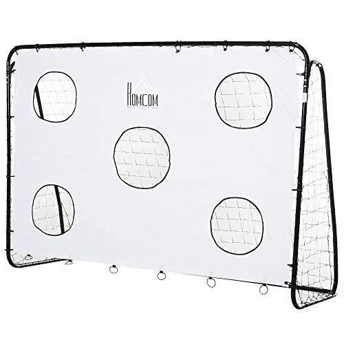 homcom Porta da Calcio per Bambini e Adulti con Rete in PE, in Metallo e Oxford, Bianco e Nero, 240x88x171.5cm
