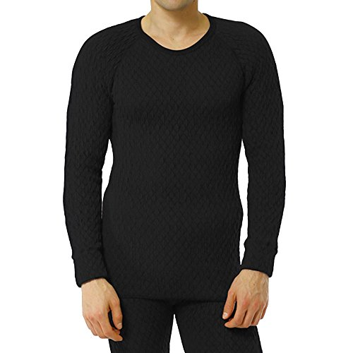 ひだまり本舗[EVN921-1][紳士用]長袖丸首シャツ ひだまり エベレスト[3重袖シリーズ] (M, ブラック)