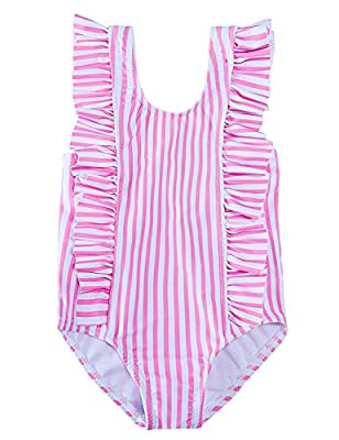 ALISISTER Toddler Little Girl Swimsuit Cute 3T 4T Kids Bathing Suit One Piece Ruffle Soft Striped Swimwear Backless Tankini Summer Home Holiday Petite Beach Bikini Round Neck Pink