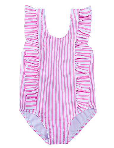 RAISEVERN Toddler Baby Girls Swimsuit Ruffles Bathing Suit Cute Pink-White Line Striped Pirnted Beach Party Sport One Piece Swimwear Backless Bikini Quick-Dry Tankini for 2t 3t Little Girl