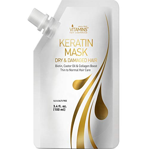 Vitamins Keratin Hair Mask Deep Conditioner - Biotin Protein with Castor Oil Repair for Dry Damaged and Color Treated Hair - Conditioning Treatment for Curly or Straight Thin Fine Hair (Travel Size)