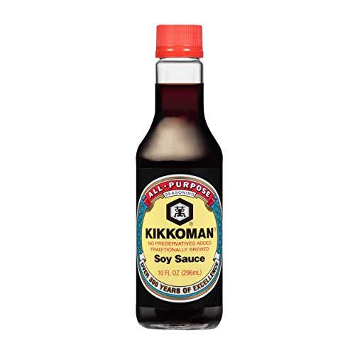 Kikkoman - Salsa de Soya Fermentada Tradicionalmente 296ml, Salsa de Soya Sazonadora Kikkoman 10oz (Caja con 12 Piezas)