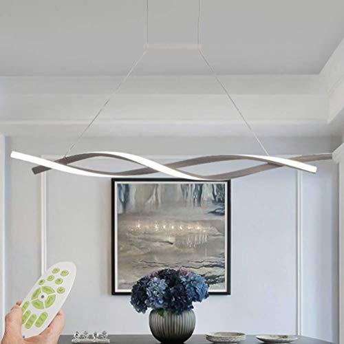 Led-plafondlamp, hanger, dimbaar, met afstandsbediening, moderne hanglamp, creatieve spiraalvormige design-kroonluchter voor keuken, ijzer, bar, café, eettafel, woonkamer, kantoor