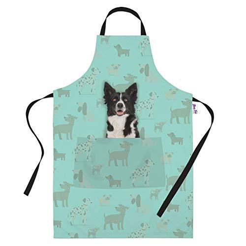 Border Collie - Grembiule da cucina con cane da pastore, regalo per gli amanti dei cani, per i proprietari di cani, da cucina, ideale come regalo per donne e uomini, panettieri e cuochi, colore: verde