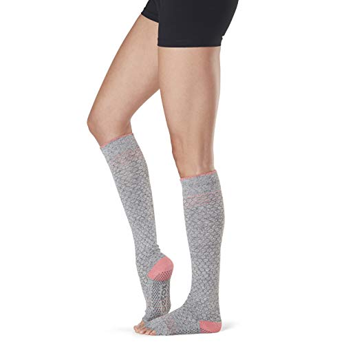 Toesox Grip Pilates Barre Socks-Non Slip Scrunch Knee High Half Toe for Yoga & Ballet Calcetines, Mujer, Maniac, Small