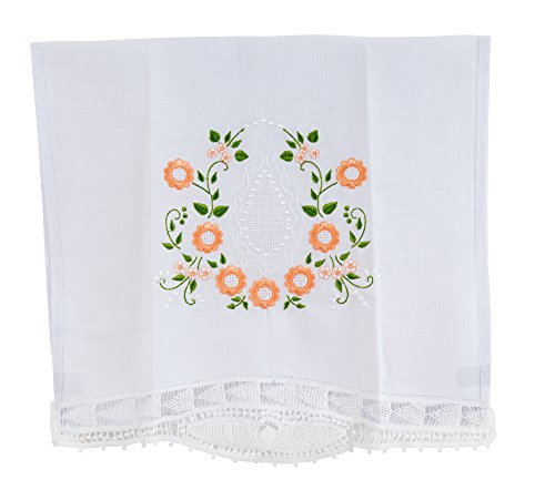 """Truffilio White Vintage Towel with Embroidered Lace Linens (Handmade Décor) for Decorative Kitchen and Bath (27.5"""" x 15.5"""", Peach Orange)"""