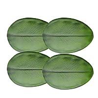 ランチョンマット,4枚セット おしゃれ 緑のバナナの葉シミュレーションプラントプレースマット PVC材質 華やか 卓上飾り 撥水 断熱 お手入れが簡単 滑り止め 西洋料理マット家庭 レストラン 用 贈り物 34.5X50cm