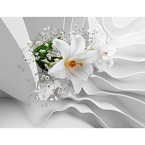 Fototapete Blumen 3D Lilien 352 x 250 cm Vlies Tapeten Wandtapete XXL Moderne Wanddeko Wohnzimmer Schlafzimmer Büro Flur Weiss 9179011a