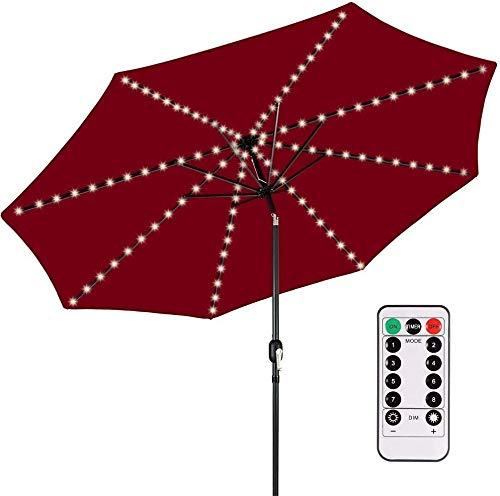 Sonnenschirm Beleuchtung mit Fernbedienung und Timer, Kaltweiß 6000K, 8 Modi, Batteriekasten Enthalten, IP65, Lichterkette LED Dimmbar für Patio Umbrella Light, Außen und Innen Deko Licht