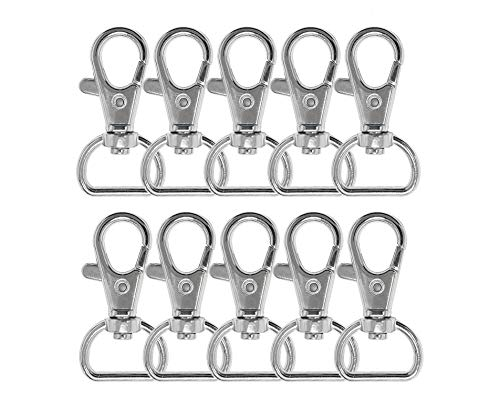 ljdeals Metal Swivel Clasps Lanyard Snap Hook Lobster Claw Clasp Jewelry Findings, Pack of 50