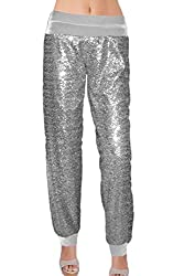 Silver Color Sequin With Velvet With Cuffs Pants