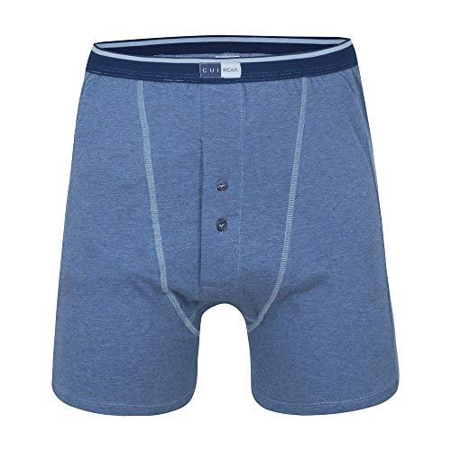 Ostomy mannelijk ondergoed met ingebouwde interne ondersteuning zak en nacht drainage in Denim - gemonteerd Trunks ~ 3 PACK - groot - links POCKET
